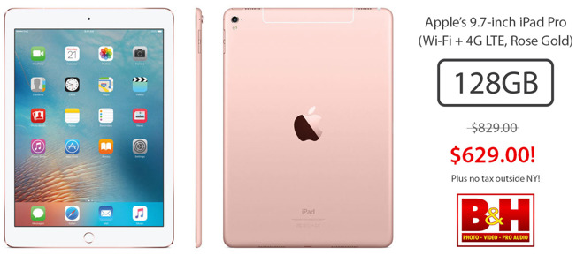 3 hour deal apple 39 s 9 7 inch ipad pro 128gb wi fi 4g. Black Bedroom Furniture Sets. Home Design Ideas