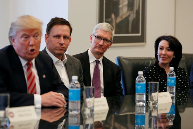Apple's Tim Cook Takes Close Seat to Donald Trump at Tech Summit