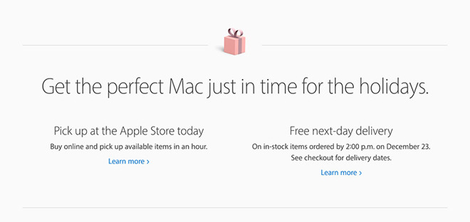 Apple Activates Free Next-Day Deliveries for Christmas Shoppers