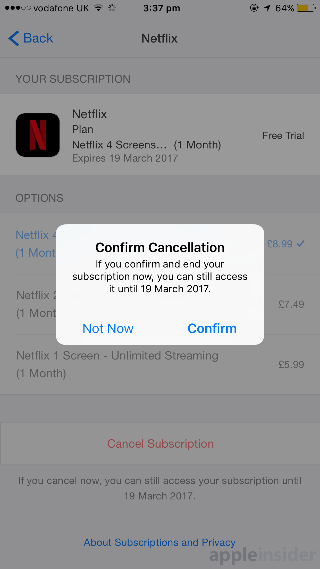 cancel store subscription ipad iphone apple