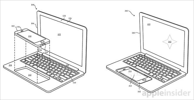 Apple si chce patentovat podivné zařízení podobné notebooku do kterého se vkládá iPhone, nebo iPad